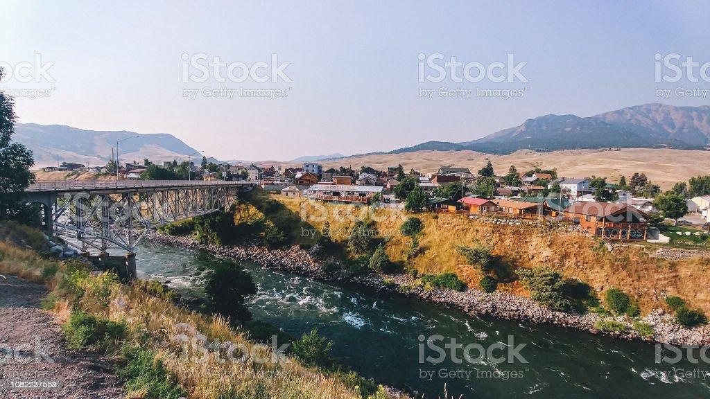 Gardiner Montana Bridge and City Gateway to Yellowstone National Park - Royalty-free Bridge - Built Structure Stock Photo