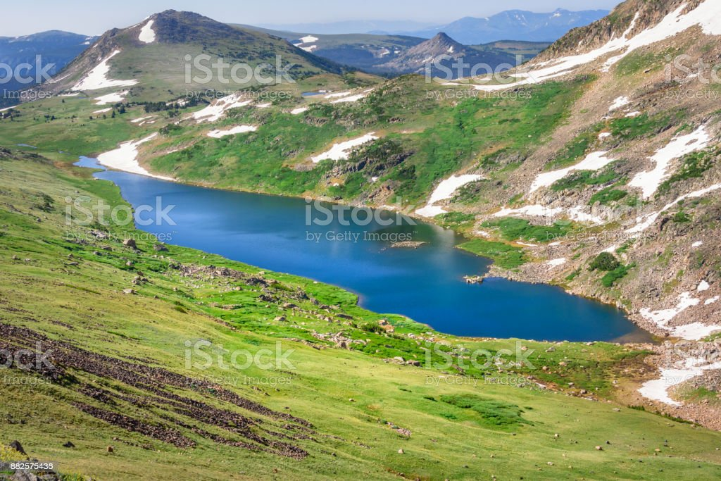 Gardner Lake of Beartooth Pass. Peaks of Beartooth Mountains, Shoshone National Forest, Wyoming, USA. stock photo