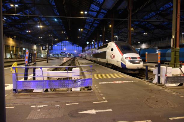 gare de lyon mit hochgeschwindigkeitszügen - gare de lyon wiedenmeier stock-fotos und bilder