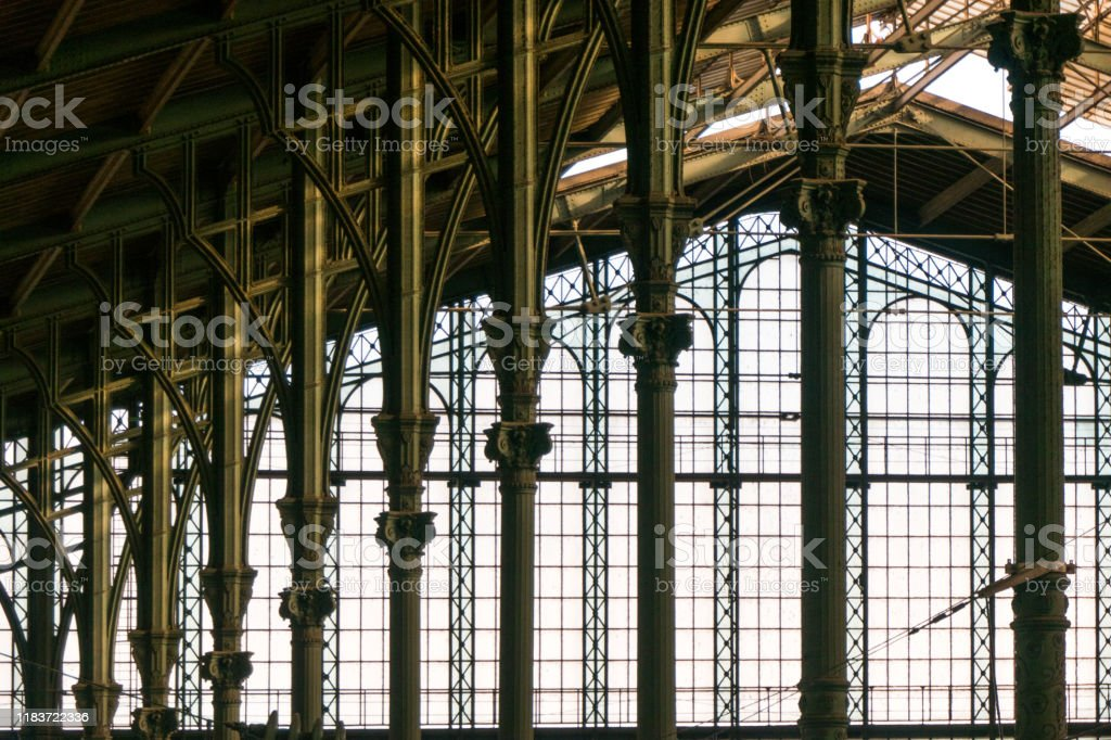 Gare du Nord (railway station) in Paris, France Gare du Nord Paris railway station opened in 1864. Ancient Stock Photo