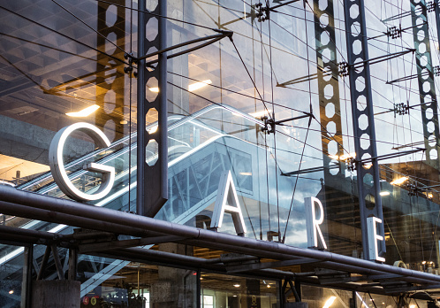 Gare Sign Modern Train Station In Paris Stock Photo - Download Image Now