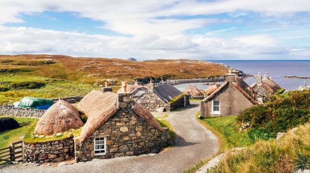 Garenin Blackhouse Village, Isle of Lewis, Scotland, UK stock photo
