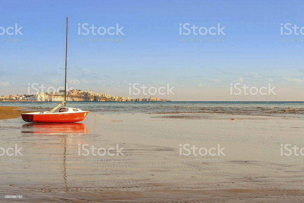 SUMMER. Gargano coast: low tide.Portonuovo beach: Vieste (Puglia)- ITALY- stock photo