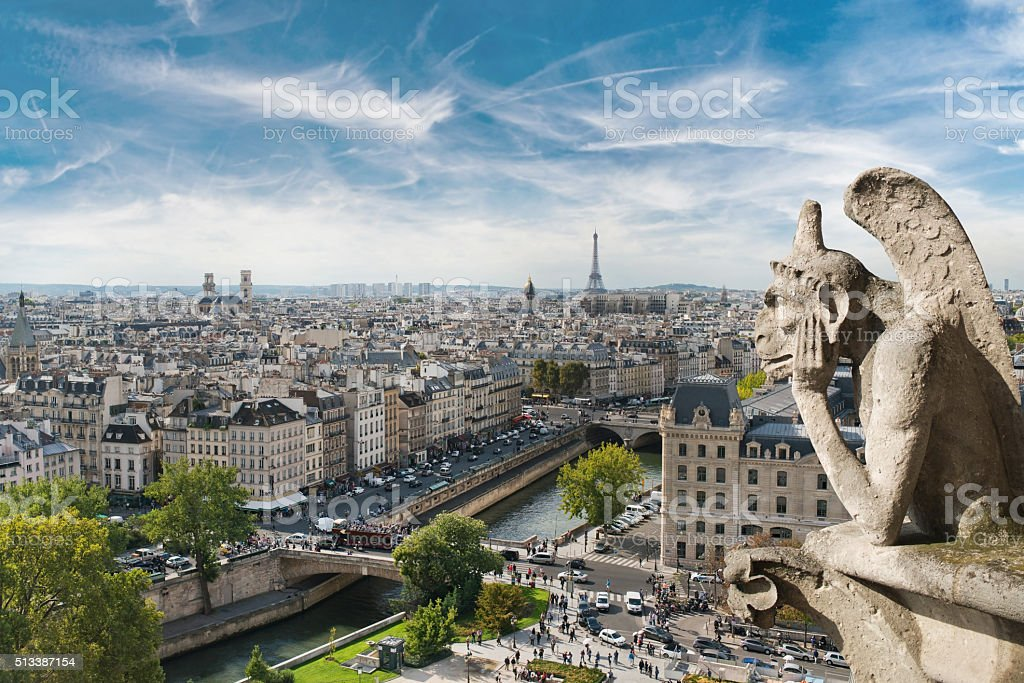 Gargoyle and wide city view from the roof of Notre stock photo