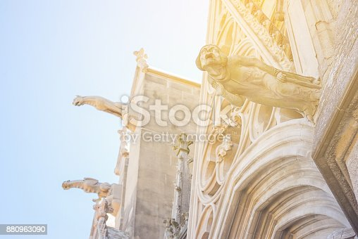 istock Gargoyle, domon sculture and decorated on the church. 880963090
