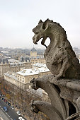 Stone demons gargoyle und chimera with Paris city on background. View from Notre Dame de Paris