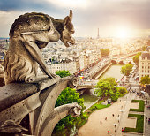 A gargoyle in Notre Dame's Cathedral in Paris, France.
