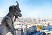 Gargoyle statue on Notre Dame de Paris cathedral in France