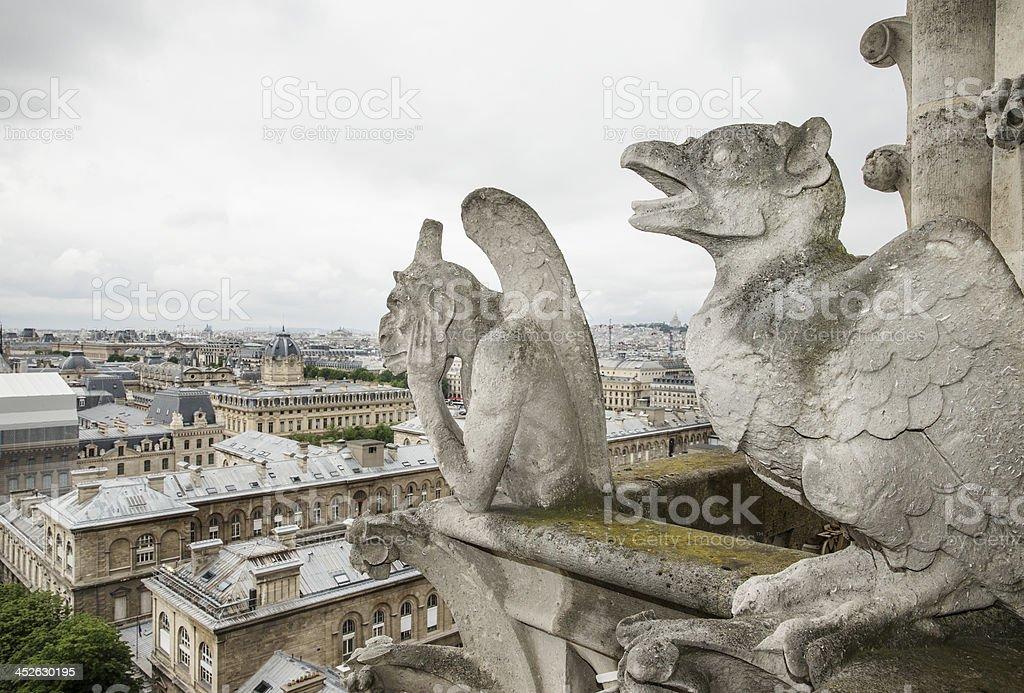 Gargoyles on Notre Dame Cathedral Paris royalty-free stock photo
