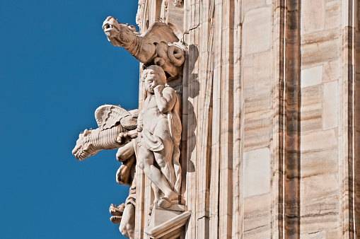 Gargoyles on the Duomo di Milano (Milan Cathedral) in Italy