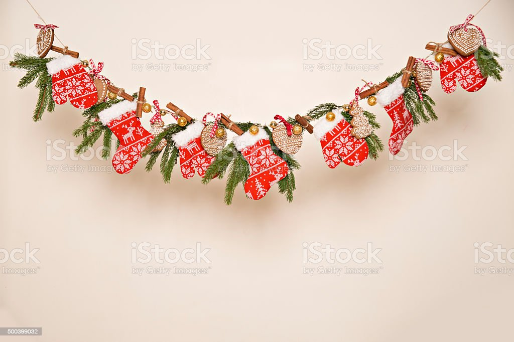 Garland Christmas , gingerbread , background stock photo