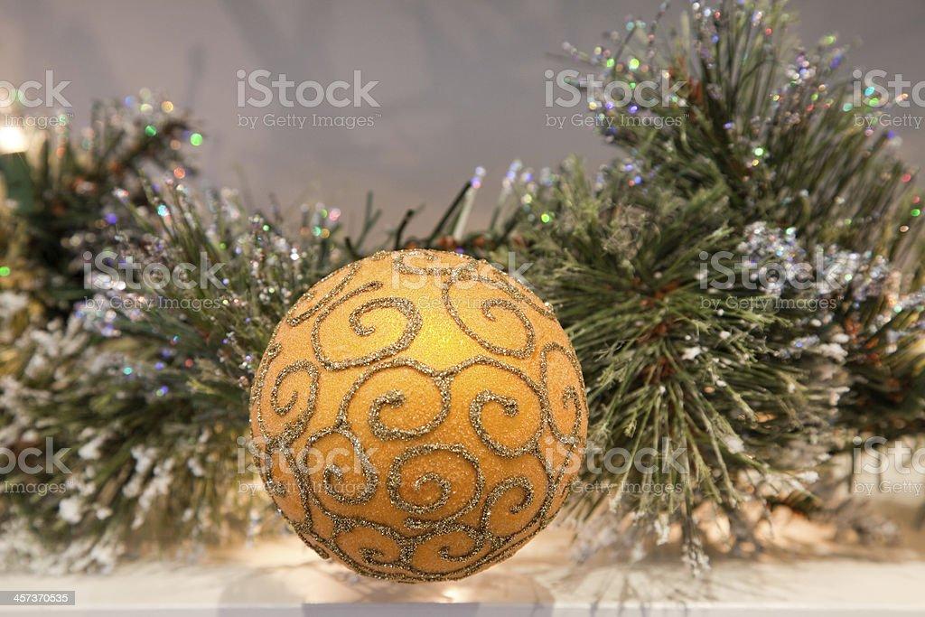 Garland decoration golden glitter ball royalty-free stock photo