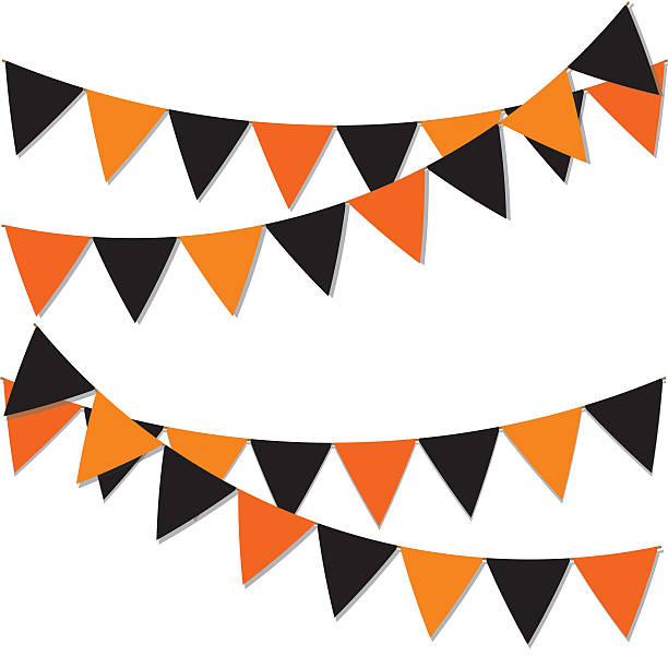 garland of colored flags. - halloween party einladungen stock-fotos und bilder