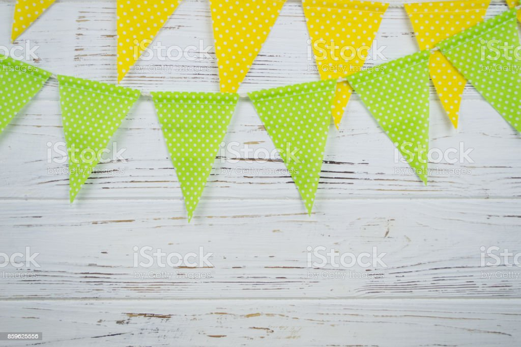 garland of green and yellow stock photo