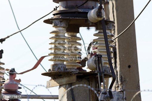 Garland of insulators on electric wires