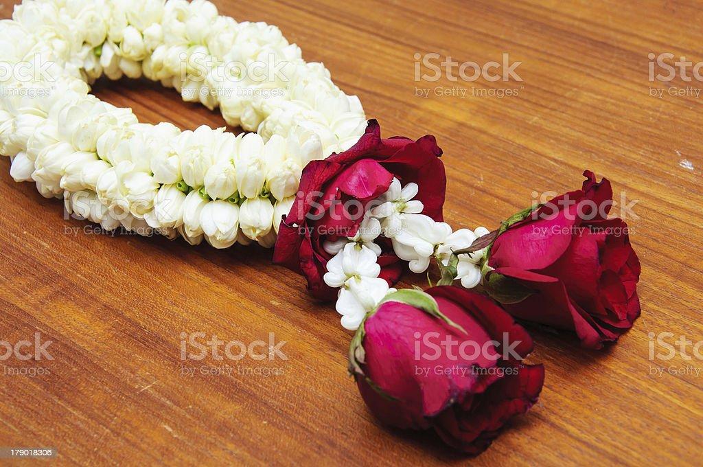 Garland of jasmine flowers royalty-free stock photo