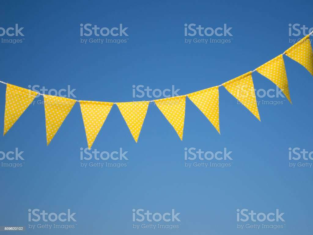 garland of yellow flags. stock photo