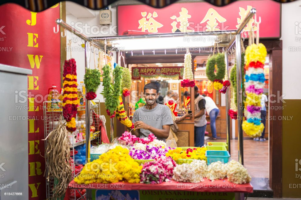 Garland Stall at Little India, Singapore stock photo