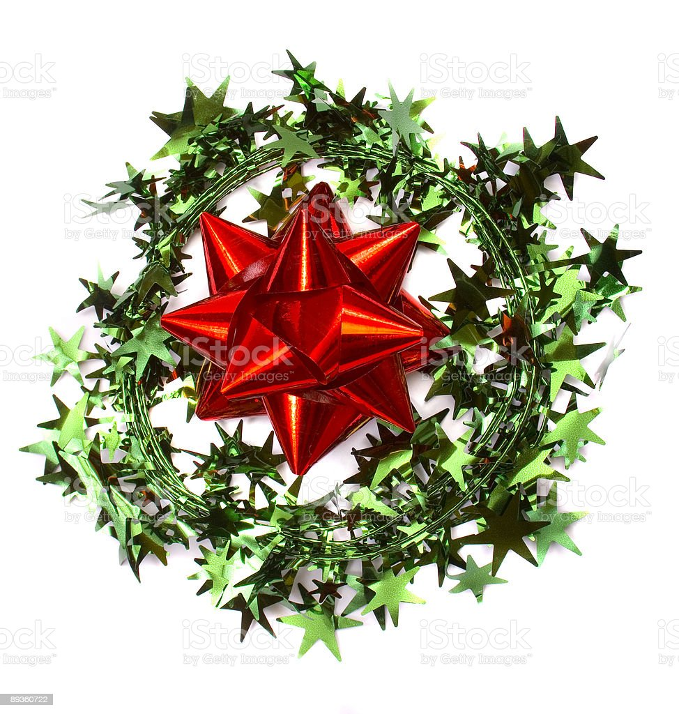 garland wreath with red bow royaltyfri bildbanksbilder