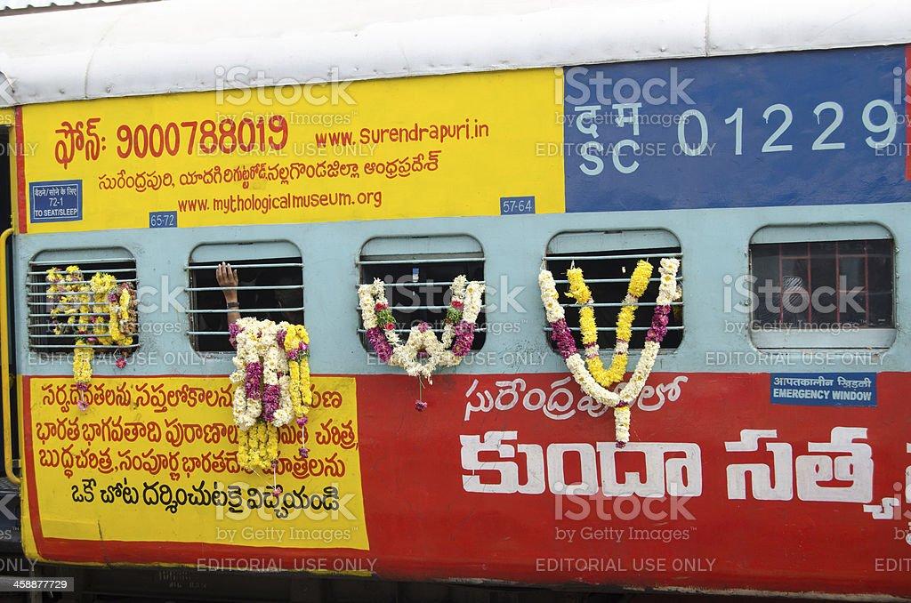 Garlanded train, India royalty-free stock photo