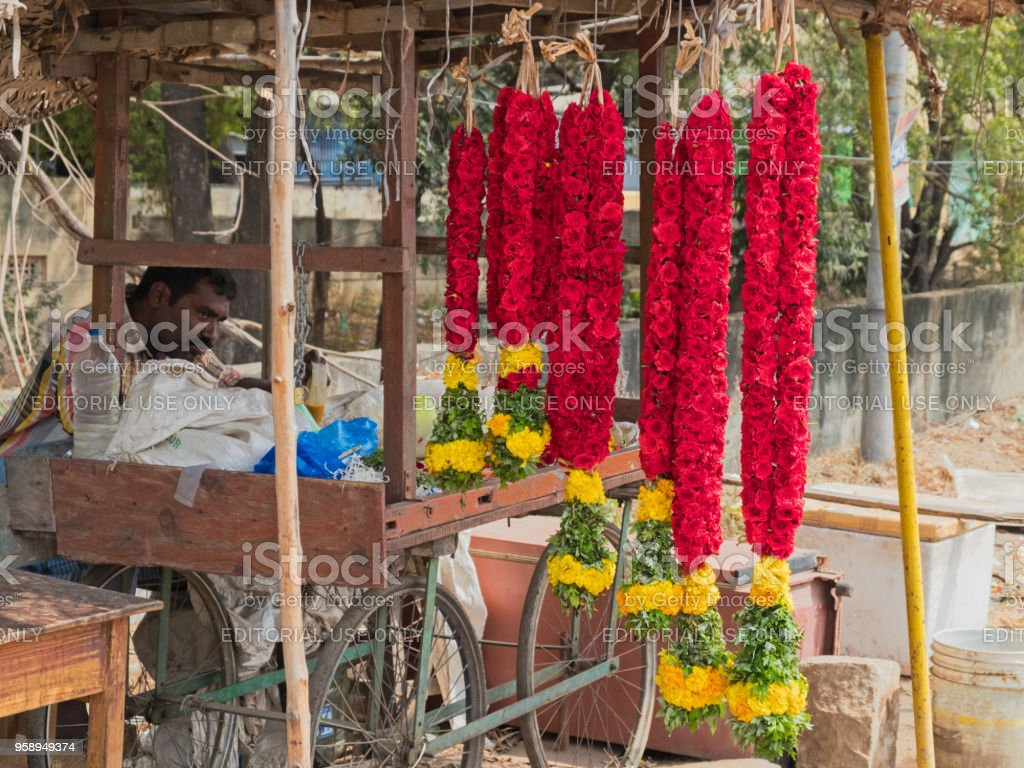 Garlands for sale in a Tamil Nadu market stock photo