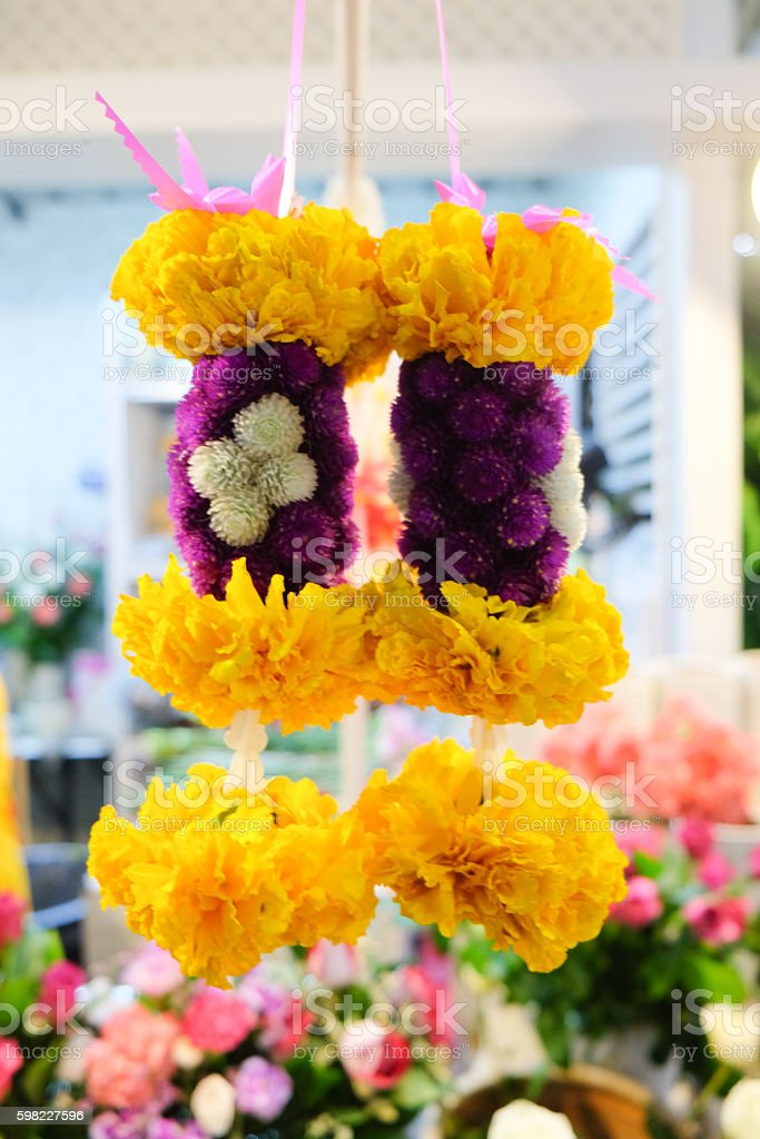 Garlands made with Marigold flowers, Thailand foto royalty-free