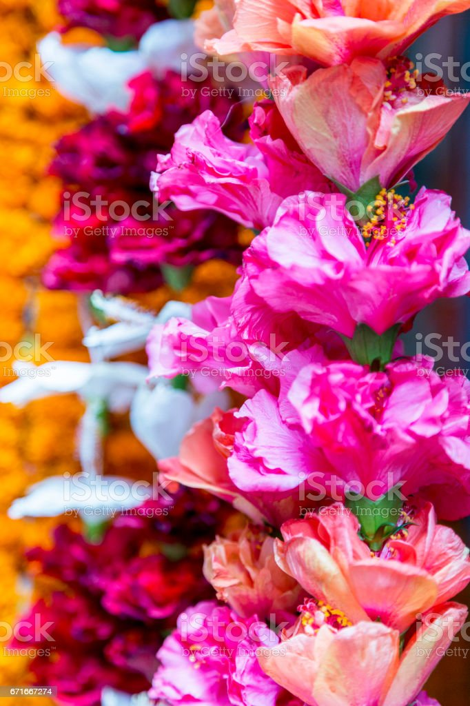 Garlands of brightly colored pink, white and orange flowers stock photo