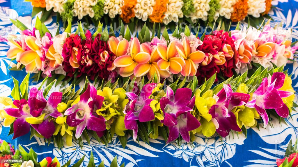 Garlands of flowers in French Polynesia stock photo