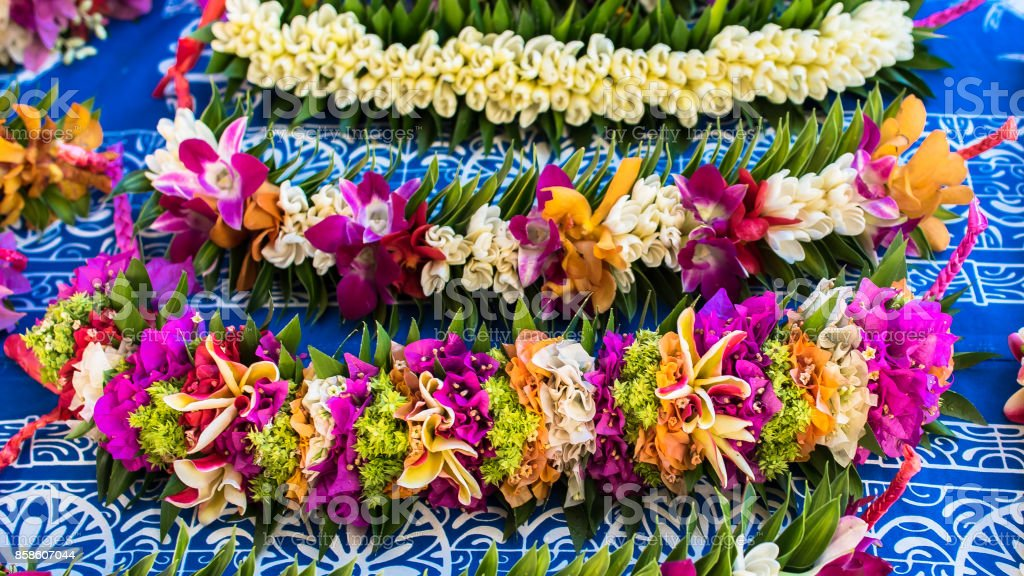 Garlands of fresh flowers in French Polynesia stock photo