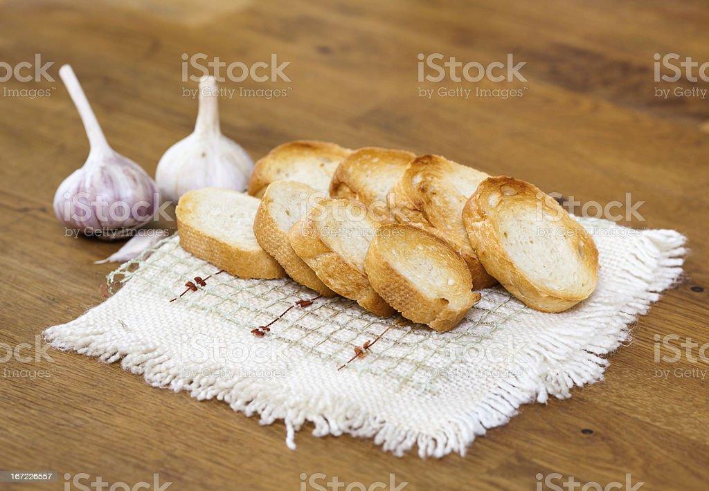 Garlic and bread royalty-free stock photo