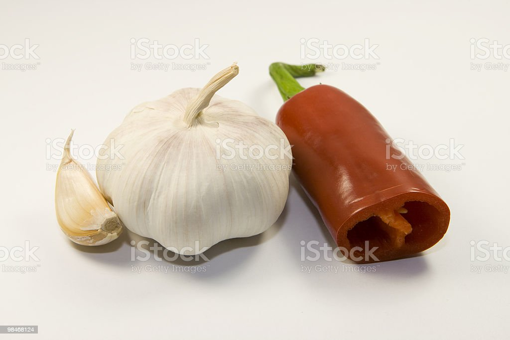 Garlic and chili pepper royalty-free stock photo