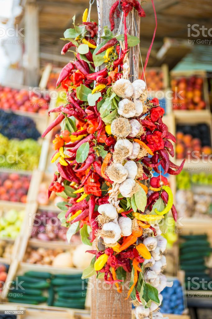 Garlic and Chili Peppers Bundle stock photo