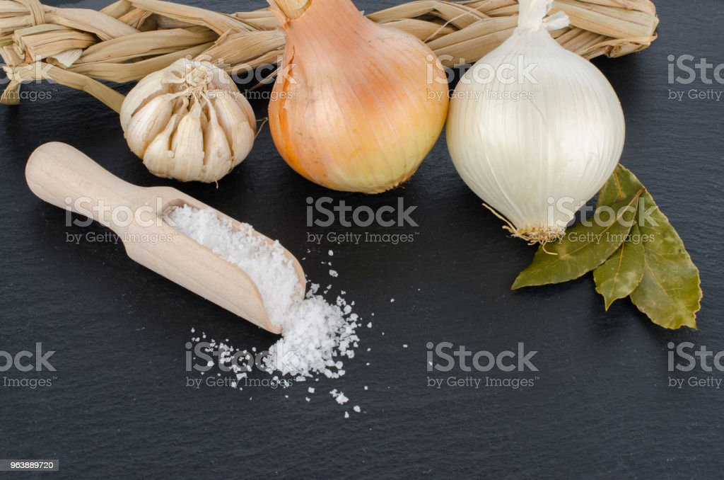 Garlic and onion - Royalty-free Blackboard - Visual Aid Stock Photo