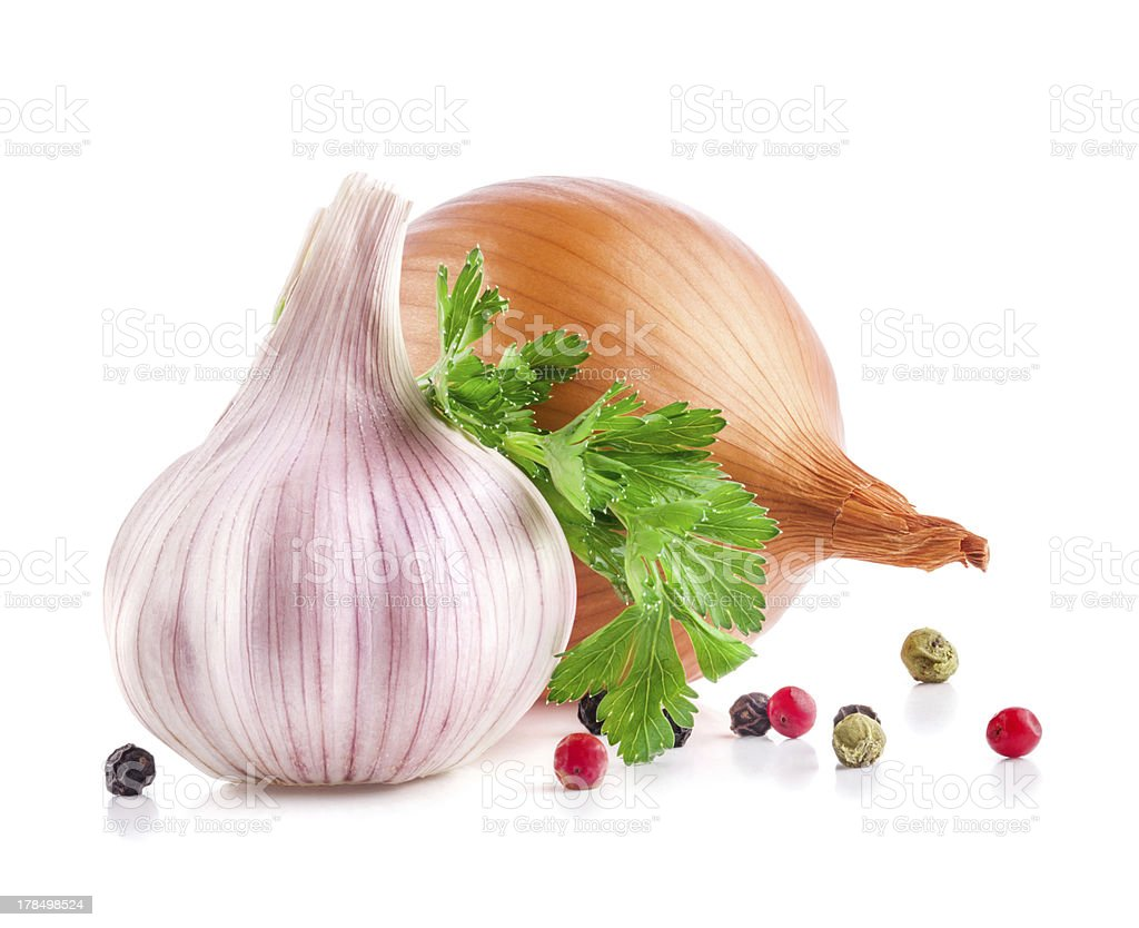 Garlic and onion with parsley royalty-free stock photo