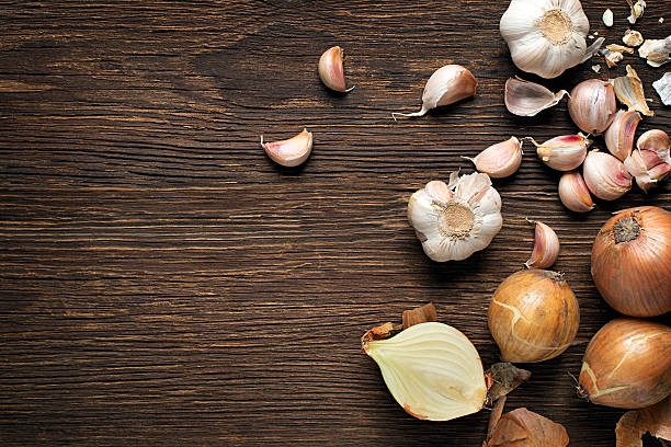 Garlic and onions stock photo