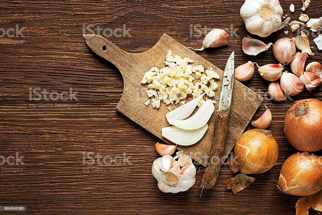 Garlic and onions stock photo