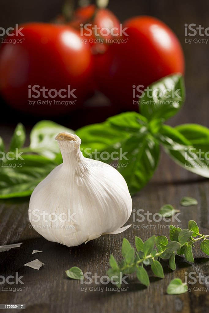 Garlic and other ingredients for Italian food royalty-free stock photo