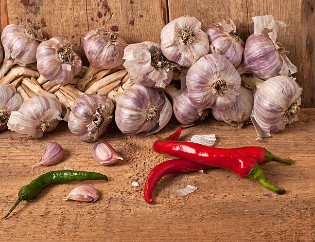 Garlic and pepper stock photo