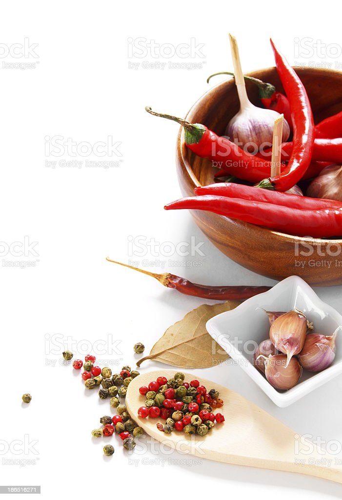 Garlic and peppers. royalty-free stock photo