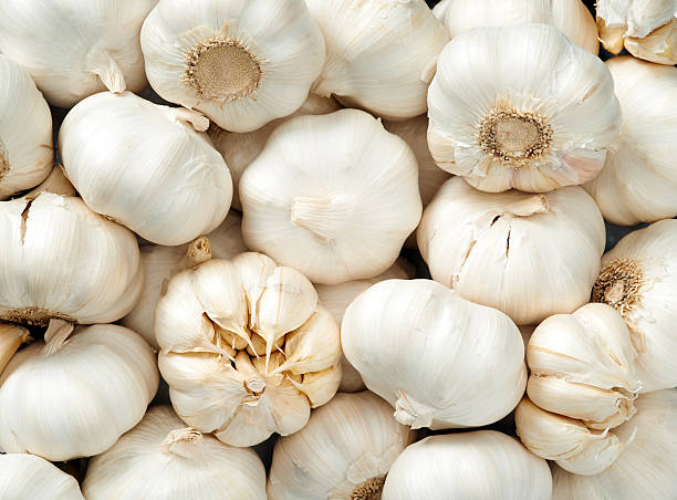 garlic background - garlic stock photos and pictures