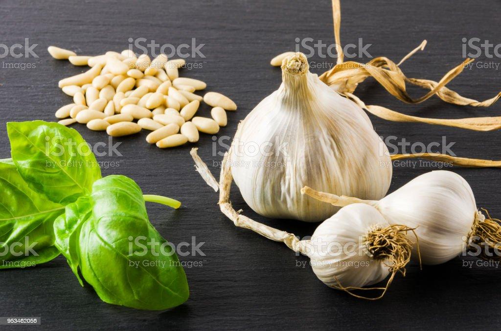 Garlic, basil, pine nuts, on gray stone background. - foto stock