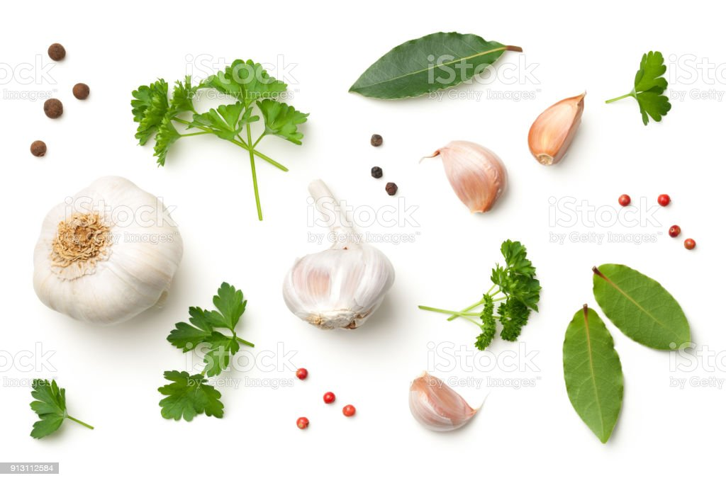 Garlic, Bay Leaves, Parsley, Allspice, Pepper Isolated on White Background - foto stock