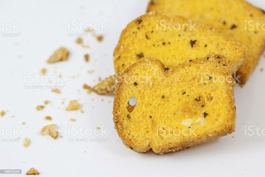 garlic bread with crumbs royalty-free stock photo