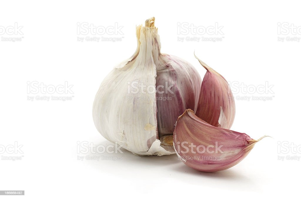 Garlic bulb split open stock photo
