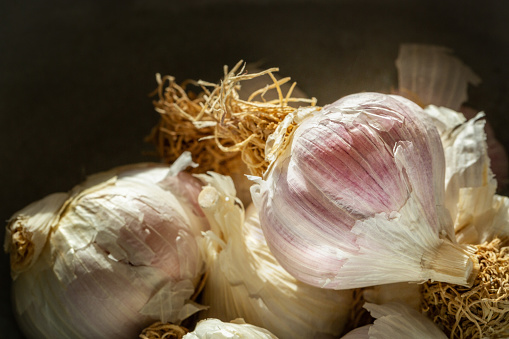 Garlic Bulbs in a Ceramic bowl.