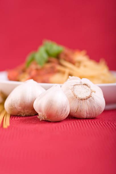 Garlic Bulbs & Pasta stock photo