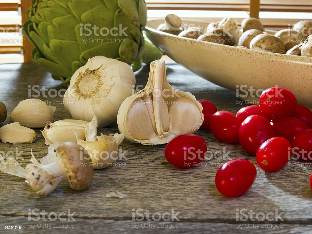 Garlic & cherry tomatoes royalty-free stock photo