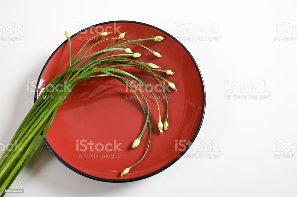 Garlic chives, ingredient used in Asian cuisine stock photo