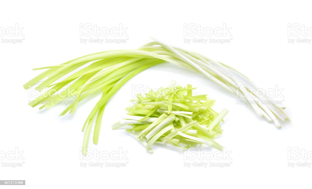 garlic chives isoalted on white background stock photo