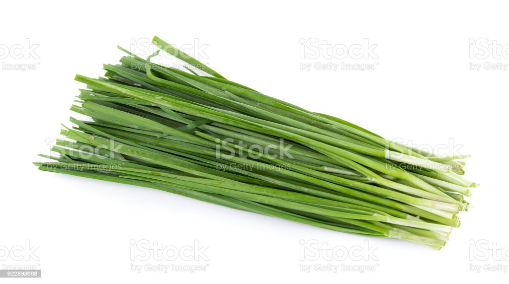 Garlic chives isolated on white background stock photo